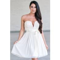 Ivory Strapless Lace Dress, Cute Rehearsal Dinner Dress