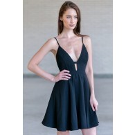 Black Plunging Neckline Dress, Cute Black A-Line Party Dress