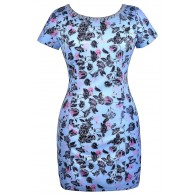 Blue Plus Size Floral Print Sheath Dress