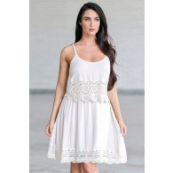Beige Lace Boho Dress, Cute Juniors Summer Dress