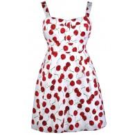 Red Cherry Print Dress, Plus Size Dress, Retro Dress