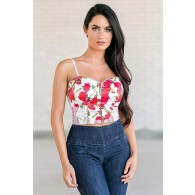Rose Print Crop Top, Cute Red and White Juniors Top