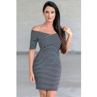 Cute black and white stripe pencil dress, off the shoulder cocktail dress