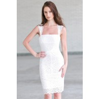 White lace cocktail dress, white rehearsal dinner dress
