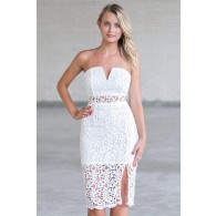 Cute White lace Strapless Midi Dress