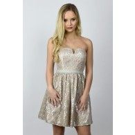 Silver Metallic Lace Rehearsal Dinner Party Dress