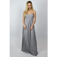 Grey Maxi Formal Bridesmaid Dress