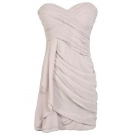 Grey Bridesmaid Dress, Cute Grey Dress, Grey Strapless Chiffon Bridesmaid Dress, Grey Cocktail Dress, Pale Grey Chiffon Dress, Grey Party Dress