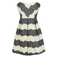 Black and White Holiday Party Dress