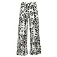 Black and Ivory Palazzo Pants, Black and Ivory Print Pants, Black and Ivory Wide Leg Pants, Geometric Print Palazzo Pants