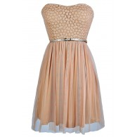 Strapless Taupe Dress, Strapless Beige Dress, Taupe Bridesmaid Dress, Beige Bridesmaid Dress, Taupe Lace Dress, Beige Mesh and Lace Dress, Beige Party Dress, Beige Cocktail Dress