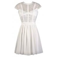Cute White Dress, White Lace Dress, White Sundress, White A-Line Dress, White Summer Dress, White Party Dress