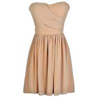 Cute Mocha Dress, Mocha Strapless Dress, Mocha Party Dress, Mocha Bridesmaid Dress, Mocha Chiffon Dress, Taupe Bridesmaid Dress, Taupe Strapless Dress, Taupe Party Dress