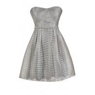 Cute Grey Dress, Grey Stripe Dress, Grey Party Dress, Grey Pearl Dress, Grey A-Line Bridesmaid Dress, Grey Stripe Pearl Dress