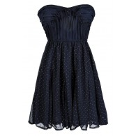 Navy and Gold Strapless Cocktail Party Dress