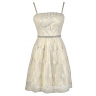afe022f2762 Antique Dream Embroidered Pearl Embellished Dress in Cream