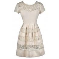 Cute Beige Dress, Beige Lace Dress, Beige and Gold Lace Dress, Beige A-Line Dress, Beige Summer Dress, Beige Lace Sundress, Beige Sundress, Beige Party Dress, Cute Rehearsal Dinner Dress, Cute Bridal Shower Dress