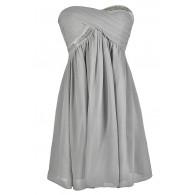 Cute Grey Dress, Grey Bridesmaid Dress, Grey Chiffon Dress, Grey Party Dress, Grey Cocktail Dress, Grey Beaded Dress, Grey Embellished Dress