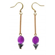 Cute Purple Earrings, Purple Drop Earrings, Purple Dangle Earrings, Purple and Gold Earrings