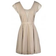 Taupe A-Line Dress, Beige A-Line Dress, Cute Summer Dress, Taupe Summer Dress, Beige Summer Dress, Taupe Lace Dress, Beige Lace Dress, Cute Party Dress, Cute Summer Dress, Cute A-Line Dress