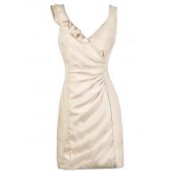 Cute Beige Dress, Beige Summer Dress, Beige Ruffle Dress, Beige Pencil Dress, Fitted Beige Dress