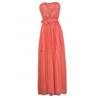 20e16f05fd87 Coral Pink Maxi Dress, Coral Pink Formal Dress, Coral Pink Prom ...