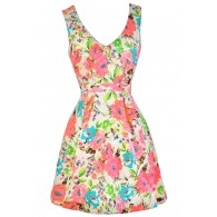 Cute Floral Print Dress, Cute Summer Dress, Neon Pink Floral Print Dress, Floral Print A-Line Dress, Neon Summer Dress