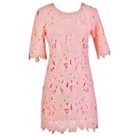 Cute Pink Dress, Pink Lace Dress, Pink Lace Summer Dress, Pink Crochet Lace Dress, Cute Summer Dress