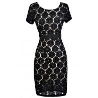 Black and Beige Lace Dress, Black Lace Pencil Dress, Black Lace Capsleeve Dress, Cute Black Lace Dress