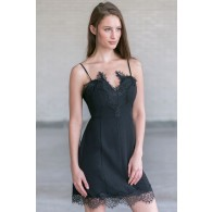 Little Miss Delicate Black Slip Dress