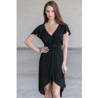 Black Ruffle High Low Dress, Black Summer Dress, Flowy Black Dress Online