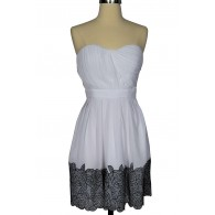 1f4531589ab6 Coming Up Roses White and Black Chiffon Designer Dress by Minuet