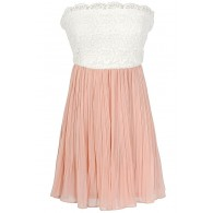 Sweet Nothings Lace and Pleated Chiffon Designer Dress in Salmon/Ivory