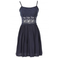 Peace and Love Crochet Floral Lace Dress in Navy