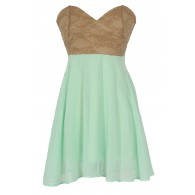 Strapless Floral Lace Bustier Dress in Beige/Green