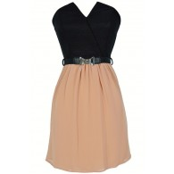Tulip Garden Strapless Belted Dress in Black/Taupe