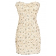 Cream and Gold Petals Textured Sequin Strapless Dress