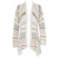 Soft Stripes Cardigan Sweater in Aqua/Taupe Stripe