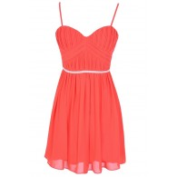 Charmed Life Embellished Designer Dress in Red Coral