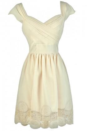 Cute Cream Dress, Cream A-Line Dress, Cream Summer Dress, Cute Rehearsal Dinner Dress, Cute Bridal Shower Dress, Cream Party Dress