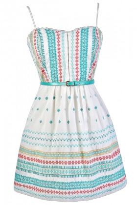 Cute Summer Dress, Cute Sundress, Embroidered Sundress, Embroidered Summer Dress, Cute Embroidered Dress, Belted Sundress, Belted Summer Dress, Coral and Aqua Embroidered Dress