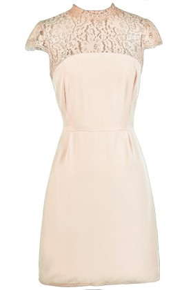 b8c6b76c7ce4 Beige Lace Dress
