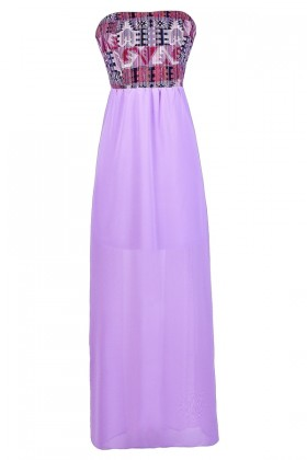 Purple Maxi Dress, Cute Summer Dress, Summer Maxi Dress, Purple Southwestern Print Maxi Dress, Bright Purple Maxi Dress
