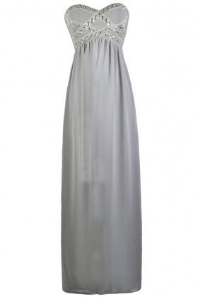 Grey Embellished Maxi Bridesmaid Formal Prom Dress