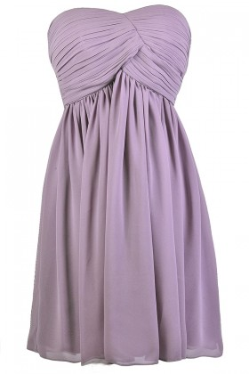 Cute Purple Dress, Purple Strapless Dress, Purple A-Line Dress, Purple Party Dress, Purple Cocktail Dress, Purple Chiffon Dress