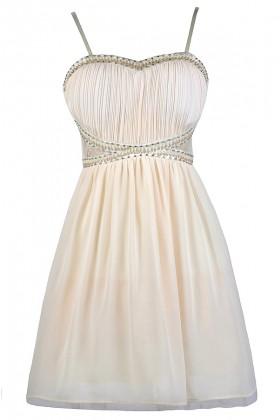 Cream Party Dress, Cream Beaded Dress, Cream Embellished Dress, Cute Cream Dress, Cream Cocktail Dress