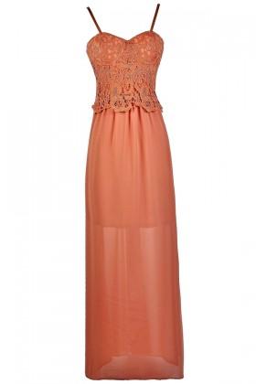 Burnt Coral Lace Maxi Dress, Cute Coral maxi Dress, Coral Lace and Chiffon Maxi Dress, Boho Maxi Dress