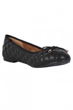 Quilted Black Ballet Flat, Black Ballet Flat, Bow Front Black Ballet Flat