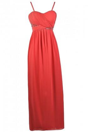 Coral Embellished Maxi Dress, Coral Prom Dress, Coral Formal Dress, Cute Coral Chiffon maxi Dress