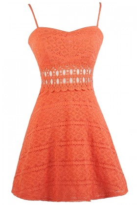 Orange Lace A-line Dress, Cute Orange Dress, Orange Lace Party Dress, Orange Lace Sundress